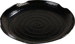 Carlisle Melamine Round Scalloped Textured Platter - Black - Case of 12