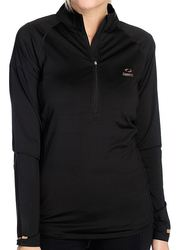 Copper Fit Women's Half-Zip Long-Sleeve Pullover Top - Black - Size: Small