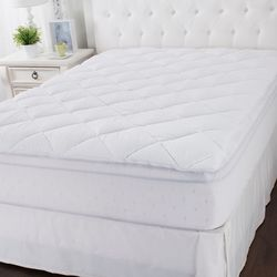 Cozelle Dual Top Triple Protection Easy-zip Mattress Pad - White/King