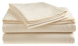 Crystal 300TC Dobby Stripe Sheet Set - Ivory - Size: California King