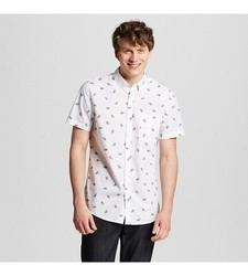 Mossimo Men's Botantical Print Shirt - White - Size: Large
