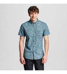 Mossimo Men's Palm Print Shirt - Navy - Size: Medium