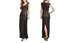 Sue Wong Lace Sleeveless Column Gown - Black/Beige - Size: 4