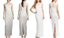 Sue Wong Lace Illusion Yoke Column Gown - Ivory - Size: 4