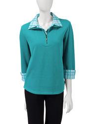 Rebecca Malone Women's Plaid Trim Flatback Knit Top - Teal - Size: Large