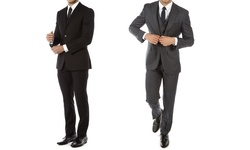 Alberto Cardinali Men's Slim-fit 3-piece Suit: Charcoal Grey/40lx34w