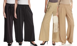 Philosophy Wide Leg Linen Pull-On Pants: Black - XSmall