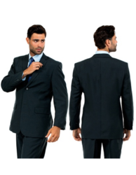 Vitto Men's Two-button Suit - Charcoal - Size: 36R/30W