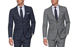 Verno Men's Slim Fit Windowpane Suits: Navy/38Sx32W