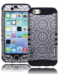"Bastex Heavy Duty Hybrid Kickstand Case For Apple iPhone 6, 4.7"" - Dark Black Soft Silicone Gel Cover with Silver and Black Antique Circles Hard Shell Design"