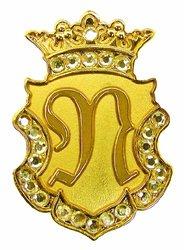 Navika Gold Initial Swarovski Crystal Ball Marker with Matching Royal Crown Hat Clip (N)