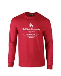 NCAA Ball State Cardinals Stacked Vintage Long Sleeve T-Shirt, Small, Red