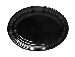 Tuxton CBH-136 Vitrified China Concentrix Oval Platter- Pk of 6 - Black