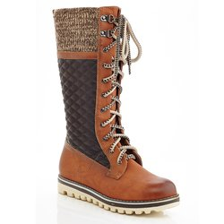 Eddie Marc Women's Quilted Charlie Lace-Up Boots - Camel - Size: 6