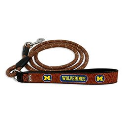 NCAA Michigan Wolverines Football Leather Rope Leash, Medium, Brown