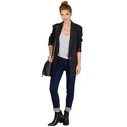 JZOEOEU Women's Long Sleeve One Button Office Blazers - Black-Size: Medium