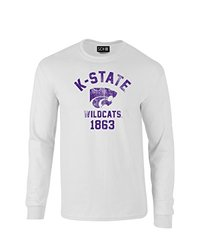 NCAA Kansas State Wildcats Mascot Block Arch Long Sleeve T-Shirt, X-Large, White