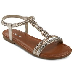 Cherokee Girls' Britt Jeweled Slide Sandals - Silver - Size: 6