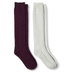 Merona Women's Casual Socks - 2 Pack - Atlantic Burgundy - Size: 4-10