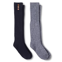 Merona Women's Casual Socks - 2 Pack - Xavier Navy - Size: 4-10
