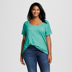 Ava & Viv Women's Plus Size Scoop Neck Tee - Windward Green - 2X