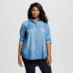Merona Women's Plus Size Button Down Shirt - Medium Indigo - Size: 2XL