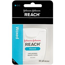 REACH Dental Floss, Waxed, Unflavored 55 yds