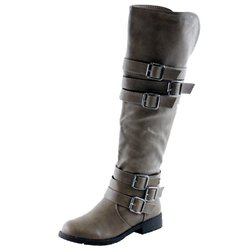 Nature Breeze Vivienne-05 Riding Boots, Taupe Pu, 6