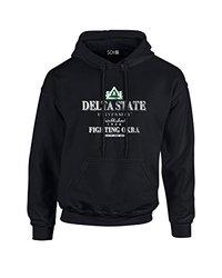 NCAA Delta State Statesmen Stacked Vintage Long Sleeve Hoodie, XX-Large, Black