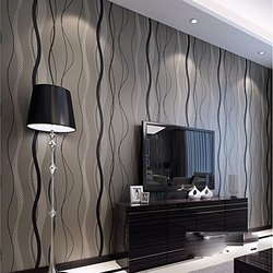 QIHANG High-grade Non-woven Flocking Simple Curve Style Wallpaper Roll Black&gray Color