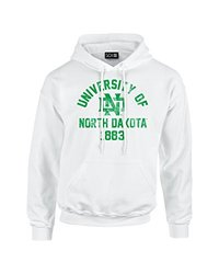 NCAA North Dakota Mascot Block Arch Long Sleeve Hoodie, XX-Large, White