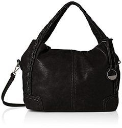 MG Collection Slouchy Woven Handle Bag - Black