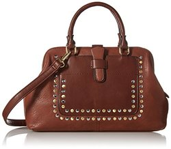 MG Collection Structure Studded Satchel Bag - Brown
