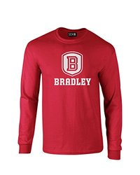 NCAA Bradley Braves Mascot Foil Long Sleeve T-Shirt, Small, Red