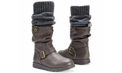 Muk Luks Women's Sky Boots With Belt Wrap - Dark Brown - Size: 8