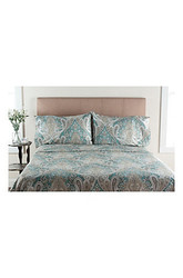 300 Tc 100% Cotton Printed Sheet Set: Aqua/full
