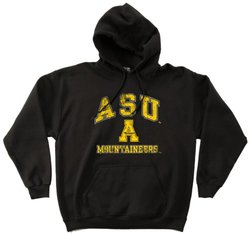 NCAA Appalachian State Mountaineers 50/50 Blended 8-Ounce Vintage Mascot Hooded Sweatshirt, Small, Black