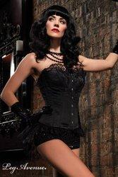 Leg Avenue Emma Corset, Steel Front Busk Closure, Organza & Lace Layered, Small, Black