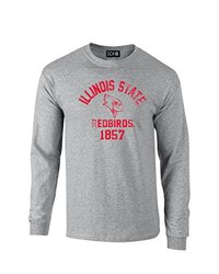 NCAA Illinois State Redbirds Mascot Block Arch Long Sleeve T-Shirt, Small, Sport Grey