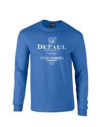 NCAA Depaul Blue Demons Stacked Vintage Long Sleeve T-Shirt, Medium, Royal