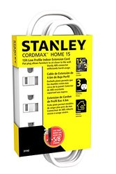 Stanley 31142 Cordmax Home 15 Grounded Low Profile 3-Outlet Indoor Extension Cord, 15Ft White,
