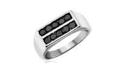 Jewelonfire Men's 1CT Black Diamond Simulant SS Ring - Size: 10