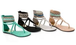 Rasolli Women's Gladiator Sandal - Grey - Size: 5.5