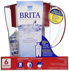 Brita 6 Cup Space Saver BPA Free Water Pitcher with 1 Filter, Red