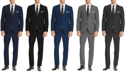 Fellini Men's 2-Piece Classic Suit - Charcoal - Size: 46L/40W