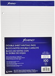 Ampad Double Sheet Pad, White, Letter, Law Rule, 100-Sheets, 1-Each