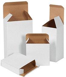 "Bauxko 2 1/2"" x 2 1/2"" x 6"" White Reverse Tuck Folding Cartons, 25-Pack (xRTS19W-25)"