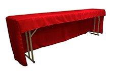 "LA Linen 96""x18""x30"" Open Back Polyester Poplin Tablecloth - Red"