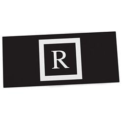 "KESS InHouse KESS Original ""Monogram Solid Black Letter R"" Office Desk Mat, Blotter, Pad, Mousepad, 13 x 26-Inches"