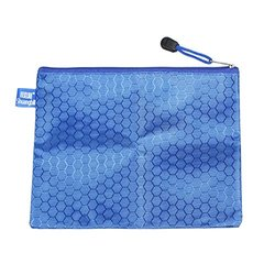 "Uxcell PVC Lining Hexagon Printed Zip Up A5 Paper File Bag -Blue - 9""x6.7"""